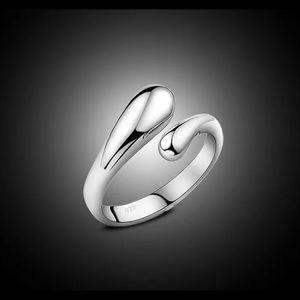 Teardrop open ring silver adjustable NEW